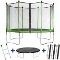 Trampoline HABITAT ET JARDIN Yoopi 365 avec filet + échelle + couverture + kit d'ancrage